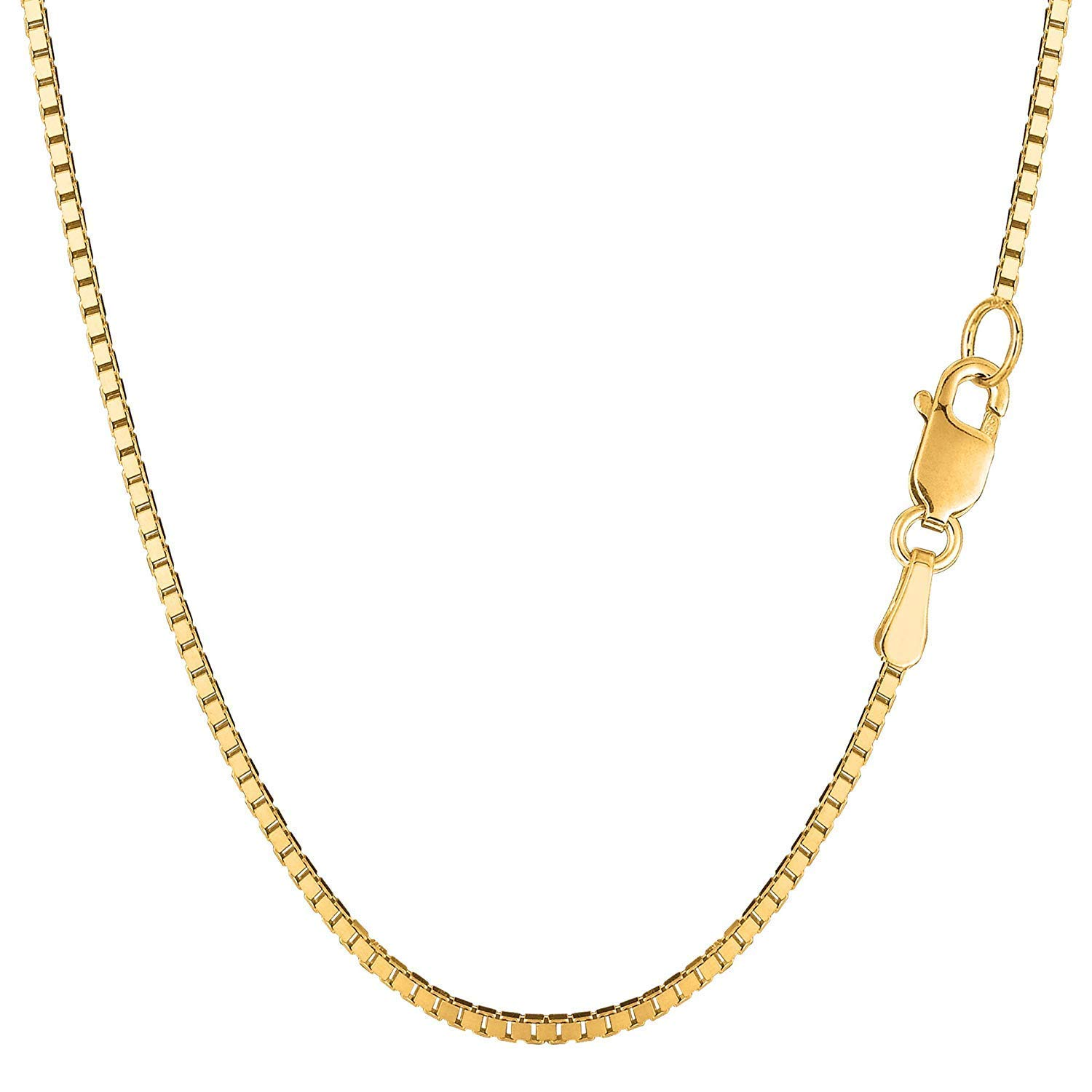 14K Yellow Gold 1.6mm Shiny Classic Box Chain Necklace for Pendants and Charms with Lobster Clasp (18'', 20'', 22'' 24'' or 30 inch