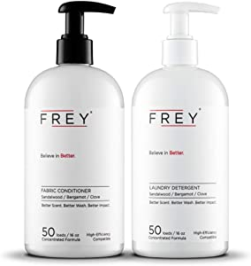 FREY Concentrated Natural Laundry Detergent + Liquid Fabric Booster (Full Wash) - Laundry Bundle Includes High Efficiency Liquid Detergent (50 Loads) and Fabric Deodorizer (50 Loads), Eco Friendly