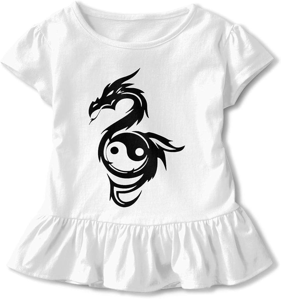 Yin Yang Dragon Shirt Baby Girls Ruffles O-Neck Basic Shirt for 2-6 Years Old Baby