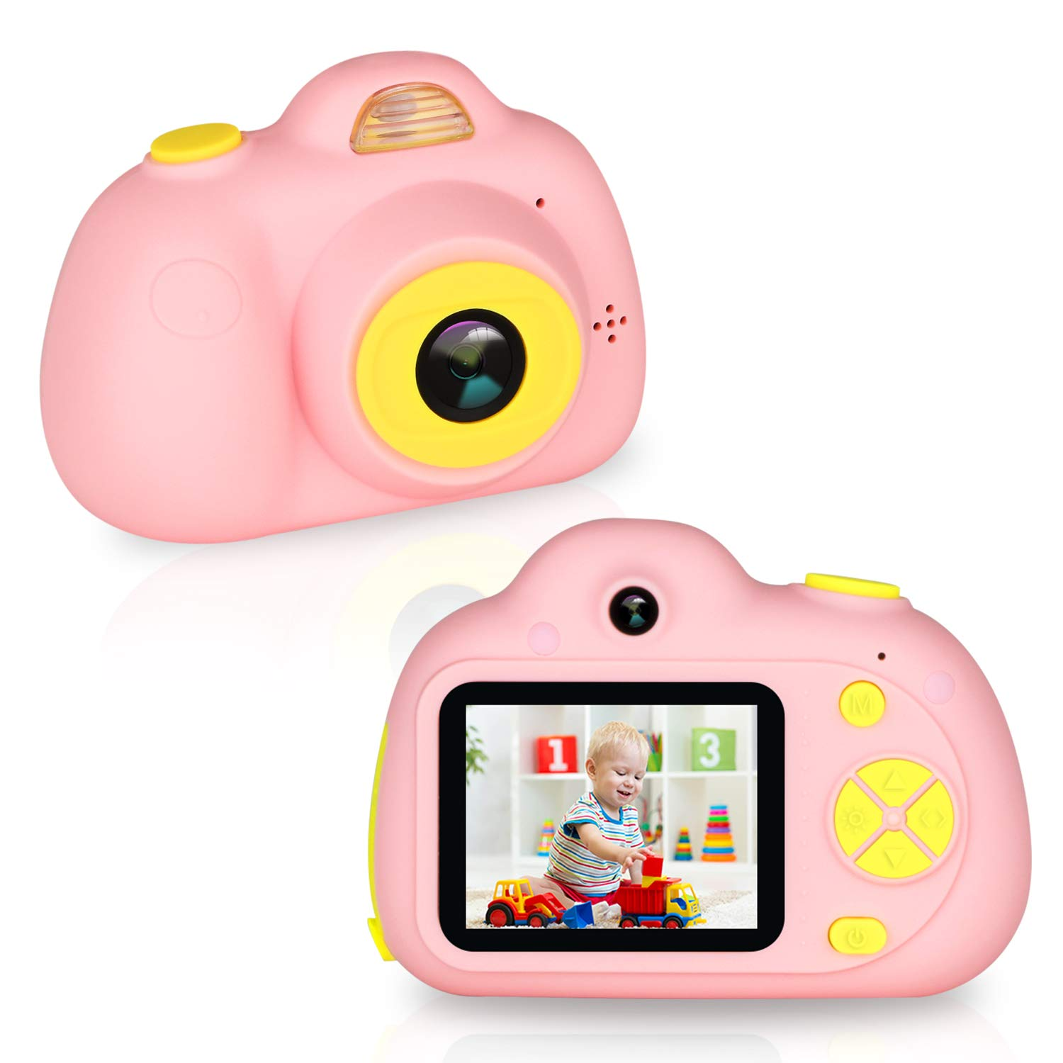 eyesen Kids Camera for 3-10 Year Old Children 1080P HD Rechargeable Digital Child Camcorder Shockproof Selfie Mini Camera with Soft Silicone Shell and 2 Inch Screen for Kids, Pink by eyesen (Image #6)