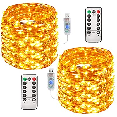 Aluan Fairy Lights Christmas Lights 100 LED 33FT with Remote Control & Timer Waterproof USB Powered Copper Wire LED String Lights for Party Wedding Home Patio Indoor Outdoor Decoration, Warm White