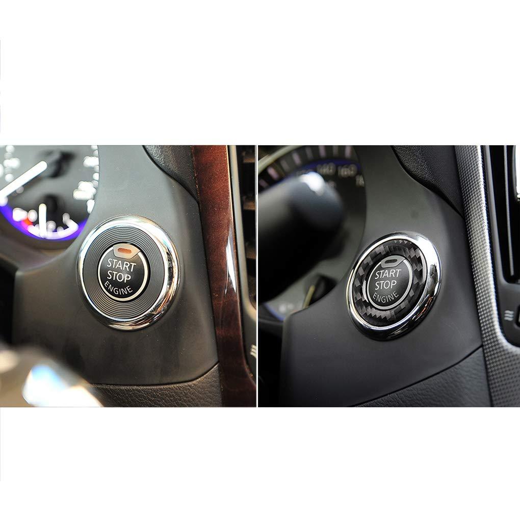 Q60 Qx60 Anillo Marco de bot/ón de Inicio 2014-2019 Tapa del Motor del Interior del Coche de Fibra de Carbono de la decoraci/ón Shangjunol Reemplazo para Infiniti Q50