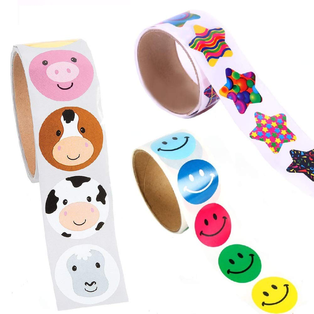 Smile Face Fun Stickers 3 Rolls of/Party Supplies 300pcs for Kids LovHome Animal Sticker