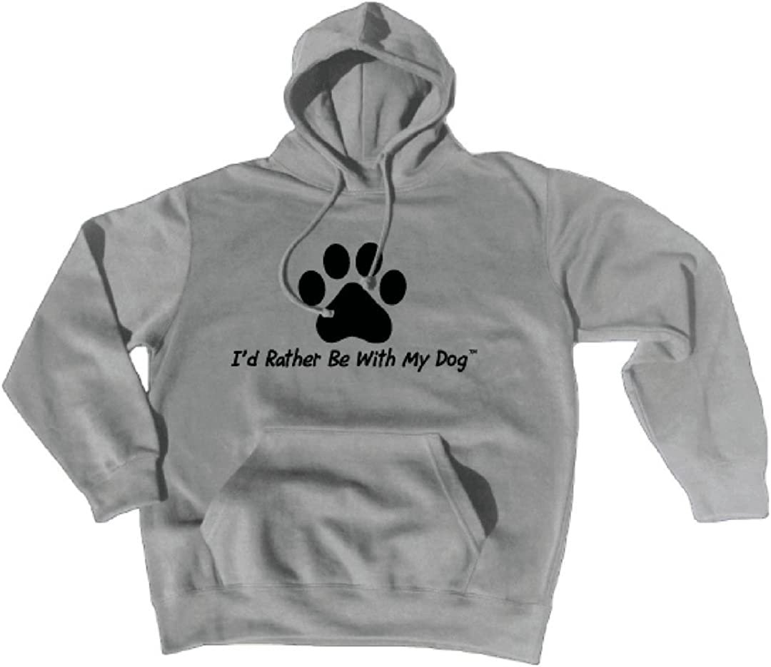I'd Rather Be With My Dog Unisex Grey Paw Print Hoodie