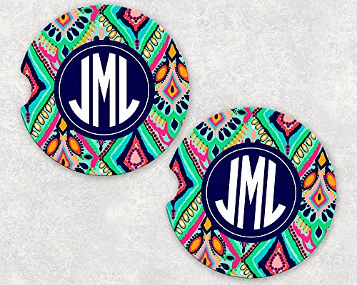 (Monogrammed Car Coasters - Absorbent Sandstone - Moroccan Style (SET of)