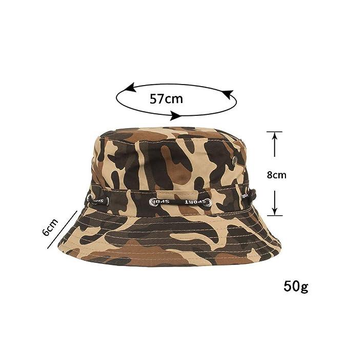 ab9c594344e87 Taihang Hombres Verano Pesca al Aire Libre Cubo Sombrero Camuflaje  Transpirable Escalada Sombrilla Sombrero para el Sol (Color   Color Black