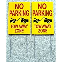2-Pcs Inspiring Unique No Parking Tow Away Zone Signs Outdoor Park Declare Yard Message Board Handicap Wheelchair Sign Handicapped Stand Plastic Decor Lawn Fine Property Cars Size 8 x 12 w/ Stake