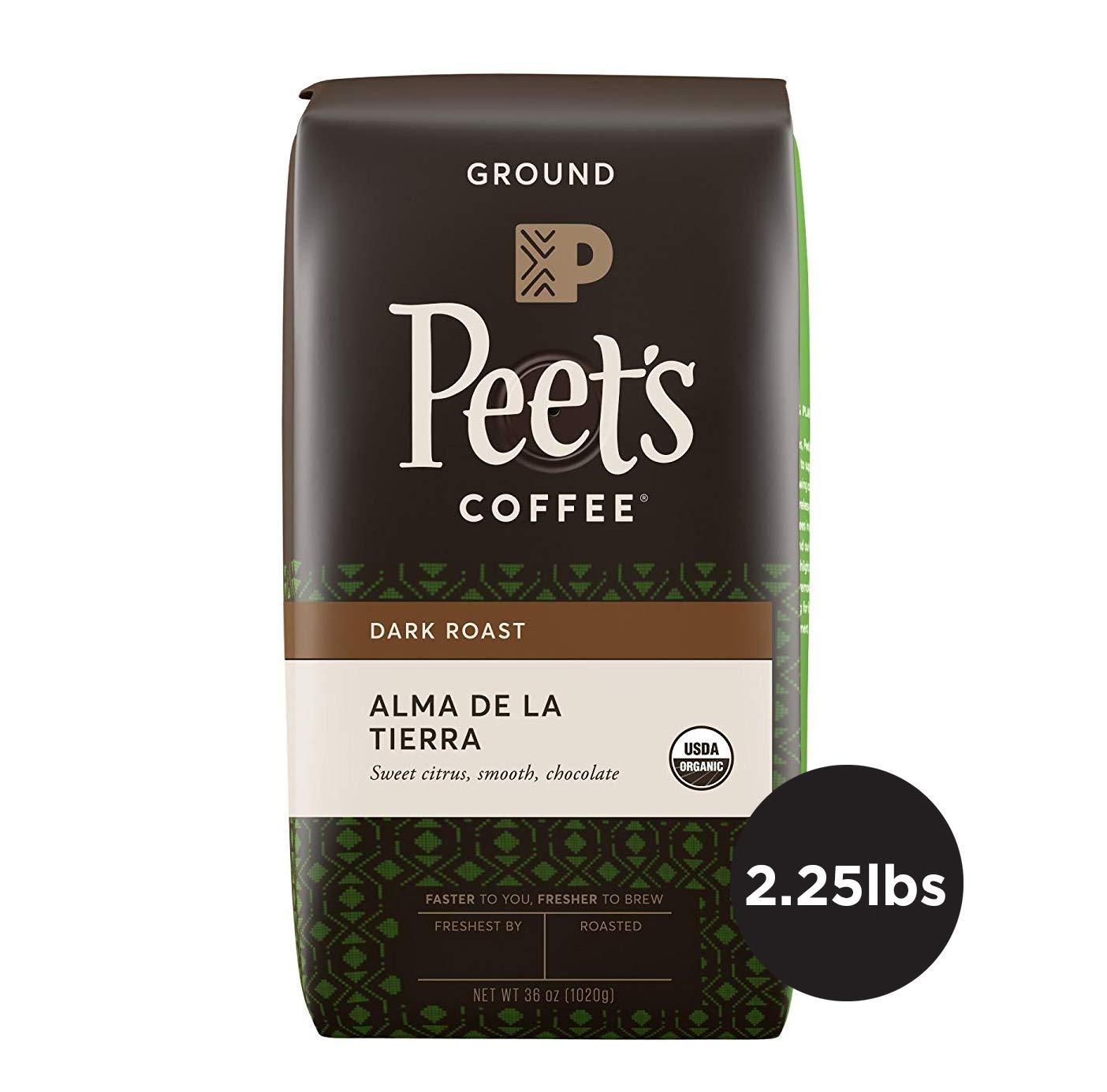 Peet's Coffee Alma de la Tierra Dark Roast Ground Coffee Organic, 2.25 Pound Bag USDA Organic