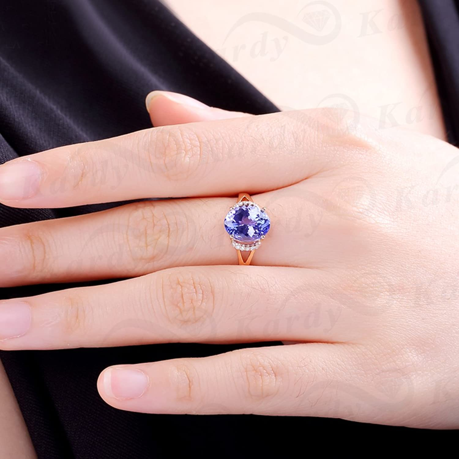 Fashion Jewelry Women\'s Real Tanzanite Gemstone Solid 14K Rose Gold ...