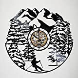 Toffy Workshop Skiing Vinyl Record Wall Clock Decor - Exciting guest room decor - perfect gift idea for children, adults, men and women - Skiing int he Mountains Unique Art Design!