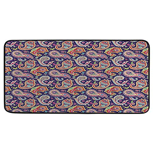 Print Door Mat, Indoor Floor Area Carpet Compatible Bedroom,Living Room,Children, Playroom, Bathroom,Paisley Decor,60s and 70s Hippie Themed Motives with Geometrical and,39