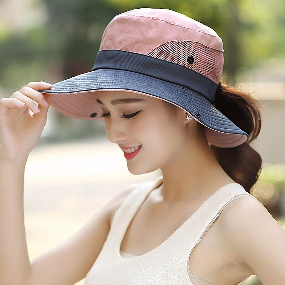 Glamorstar Womens UV Protection Hat Foldable Mesh Wide Hat Ponytail Beach Fishing Hat