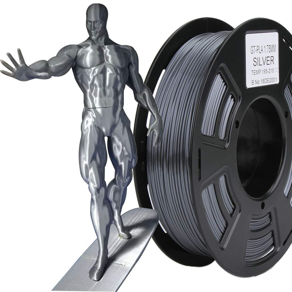 Stronghero3D 1,75 mm 3D impresora Filamento PLA GT Plata Peso 1 kg ...