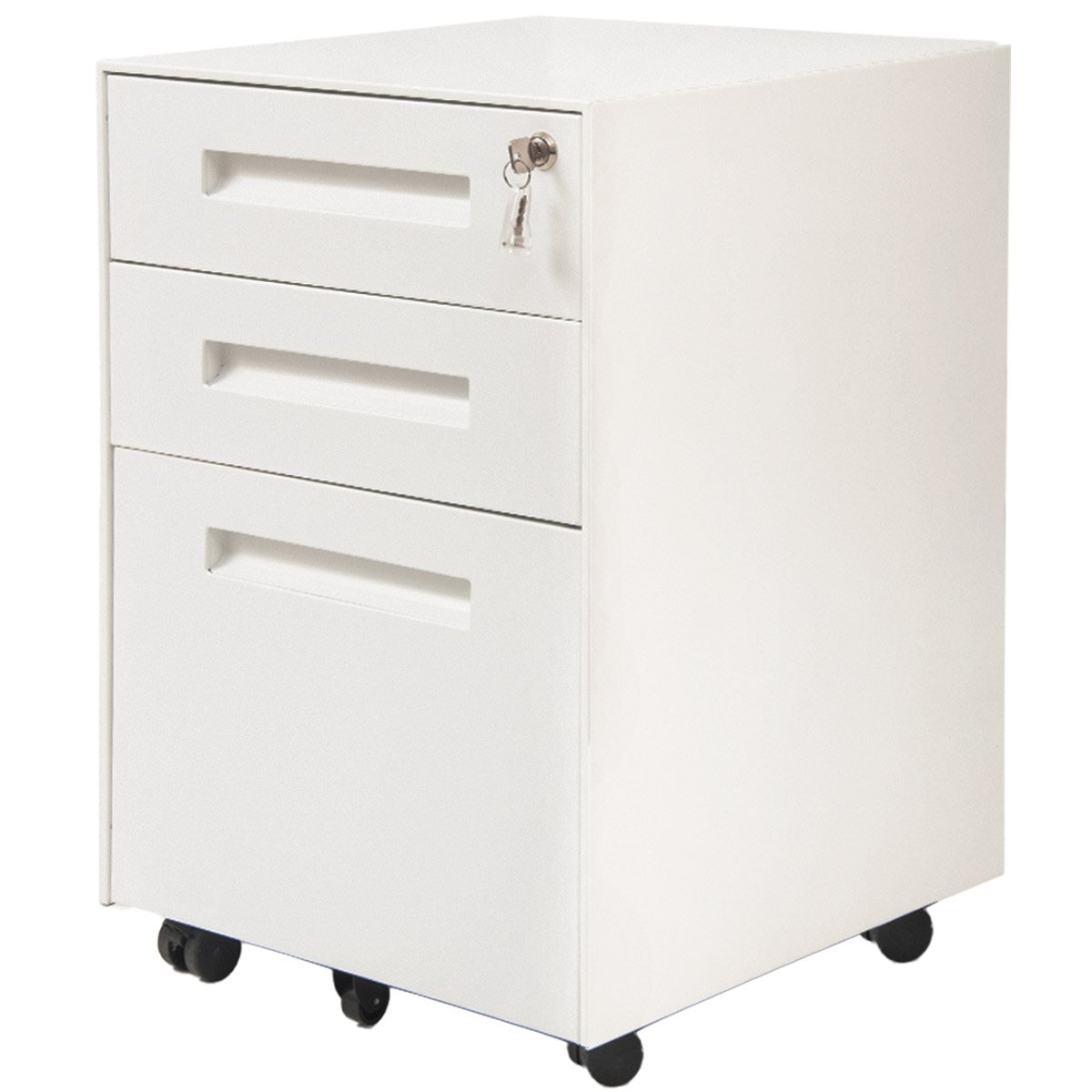 ModernLuxe 3-Drawer Metal Mobile File Cabinet with Lock Fully Assembled Except Casters (Black) LZH MX037849