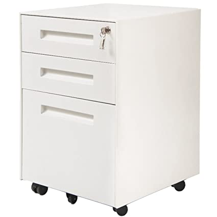 Superieur ModernLuxe Mobile Metal File Cabinet With 3 Lockable Drawers And 2 Locking  Castors (White)