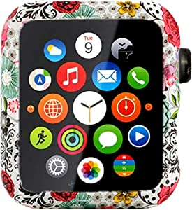 Compatible with Apple Watch Series 3 Series 2 Series 1 Floral Silicone Case Bumper Resistant Impact Resistant Protective for Apple Watch 42mm 38mm