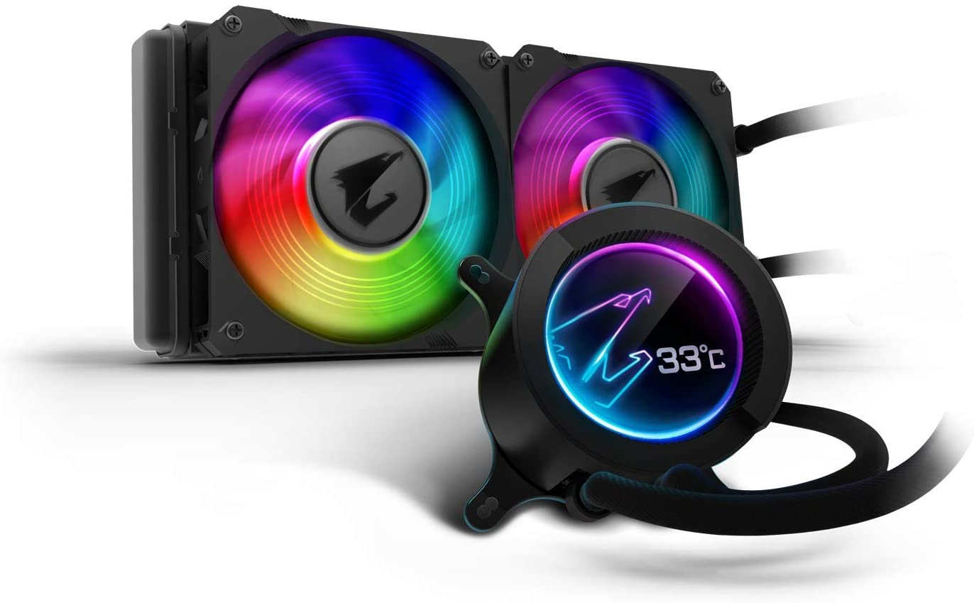 AORUS RGB AIO Liquid Cooler 240, 240mm Radiator, Dual 120mm Windforce PWM Fans, Customizable Full Color LCD Display, Advanced RGB Lighting and Control, Intel 115X/2066, AMD AM4, TR4
