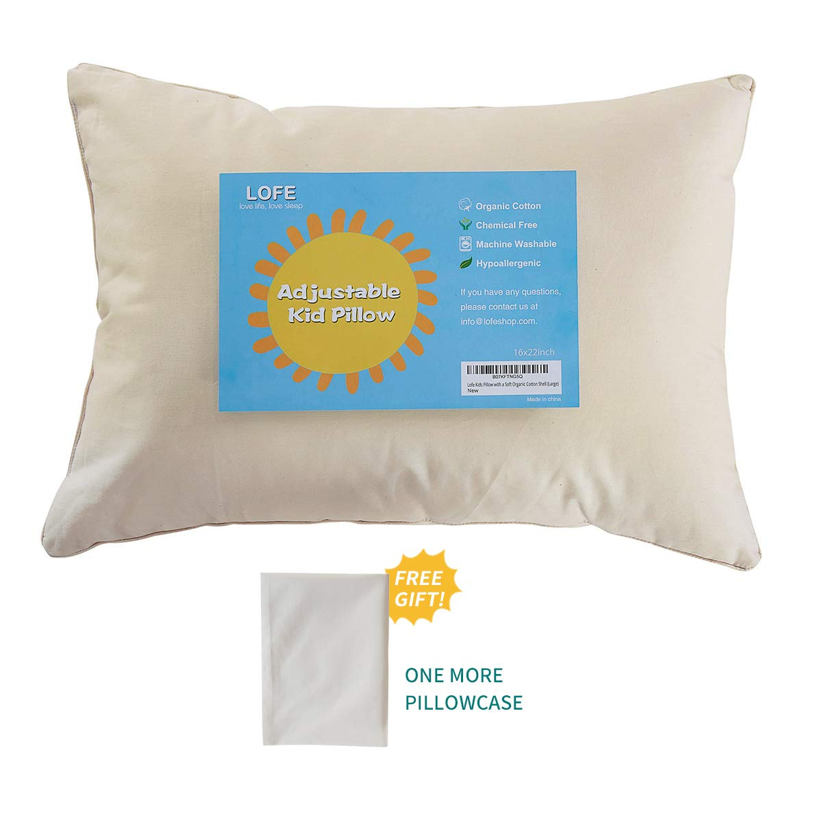 Lofe Toddler Pillow with Pillowcase, Organic Cotton Shell with Zipper, Adjustable Loft 13x18, Natural Un-Bleached Tan by Lofe
