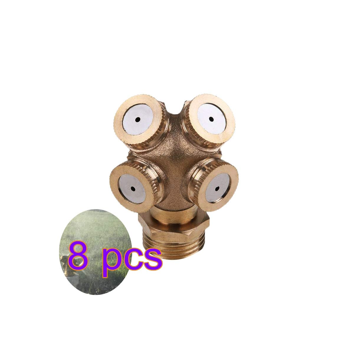 XINdream 4 Hole Brass Misting Nozzle, Adjustable Spray Irrigation Tools Garden Atomizing Sprinklers Agricultural Lawn Supplies (4/6/8 PCS Spray Nozzle Choose)