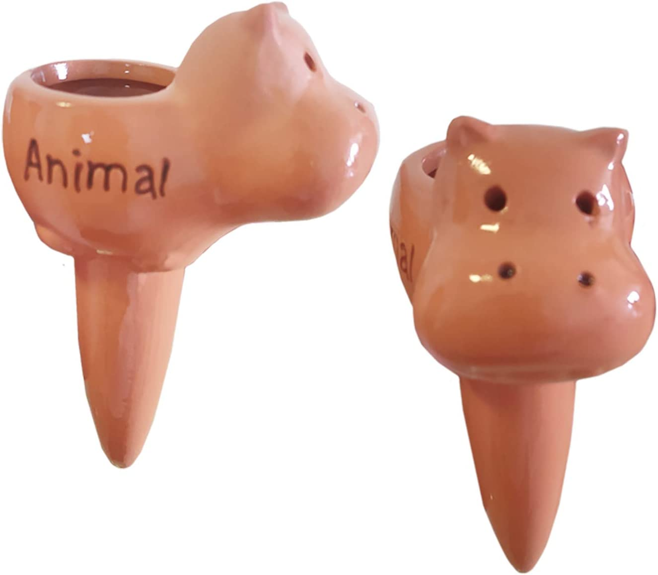 BEZALEL Hippo Terracotta Watering Spikes - Plant Self Watering Spikes Terracotta Plant Waterer Self Watering Stakes for Small & Medium Size Plant - Plant Nanny Self Watering for Indoor Outdoor Plants