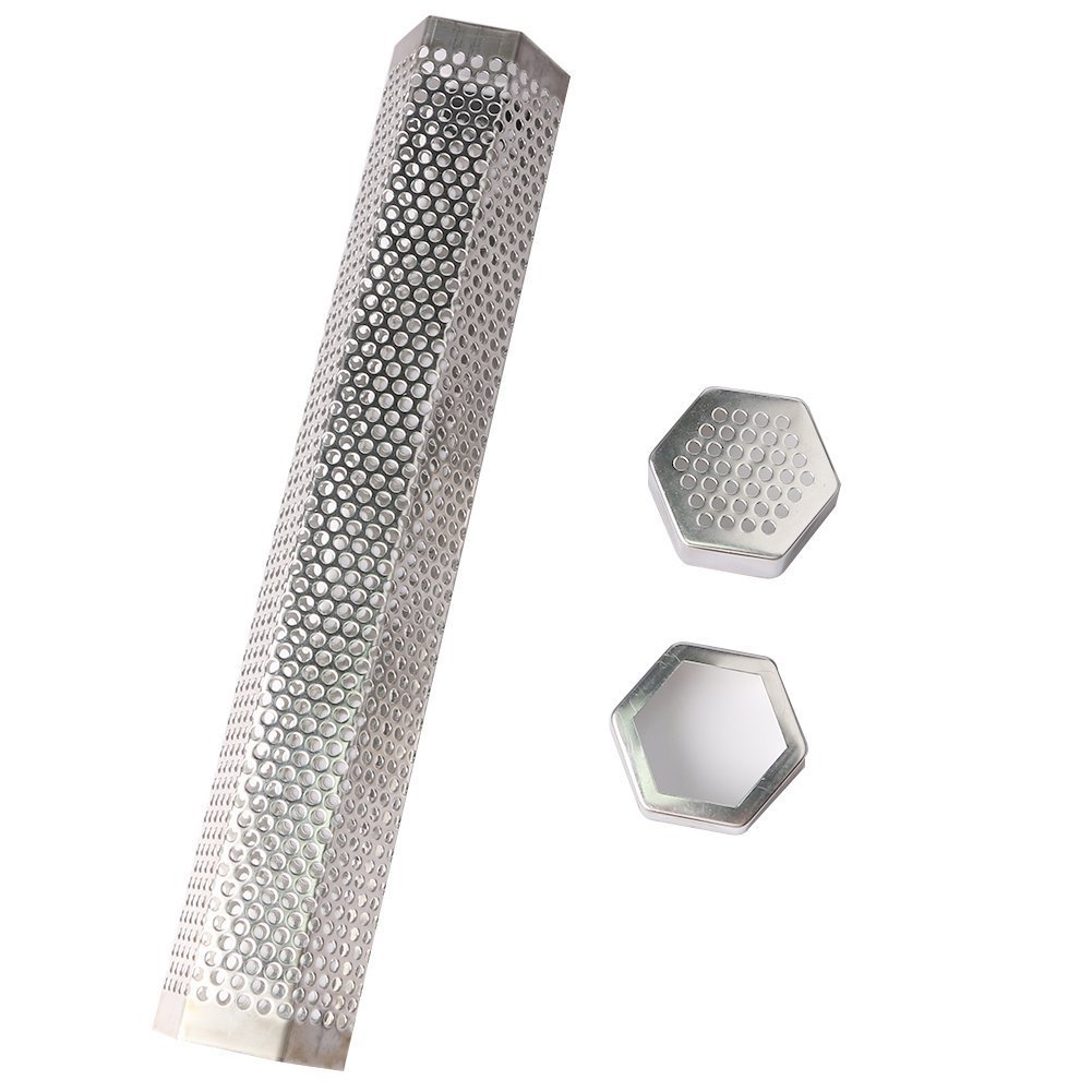 Gloria Pellet Smoker Tube Perforated Stainless Steel BBQ Smoke Generator to 5 Hours of Billowing Smoke Add Smoke Flavor to Grilled Foods 12'' Cuboid