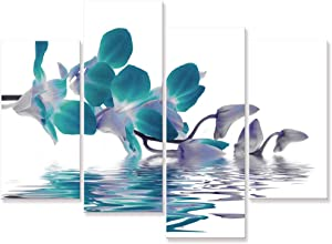 Visual Art Decor Large Beautiful Teal Orchid Flowers Wall Art Canvas Prints Gallery Wrapped Floral Painting Artwork Ready to Hang for Home Living Room Bedroom Wall Decoration