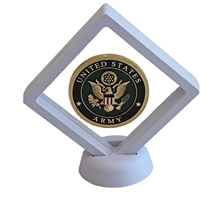 3D Floating Frame, Shadow Box, Medallion Medal Challenge Coin Chip Display  Case Stand Holder Magic Suspension Box (White - Diamond Shape)