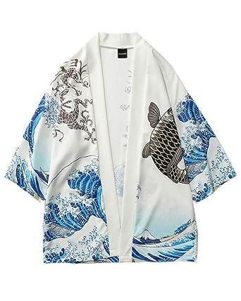 Liangzhu Cárdigan Corto De Estampado Casual Chaqueta Chal Hombres Mujer Kimono Tops