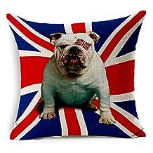 "A British Bull Dog on Union Jack Flag Cotton Linen Decorative Throw Pillow Case Cushion Cover, 17.7"" x 17.7"""