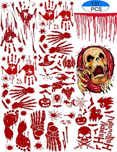 Halloween Bloody Footprints Handprints Floor Clings Vampire - Vampire Zombie Party Decorations Decals Stickers Supplies -
