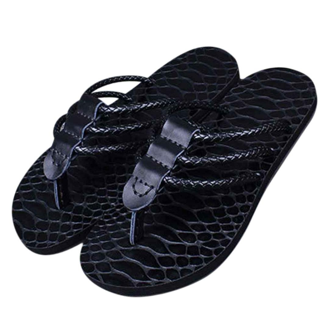 Sunfei Men Slippers Made Summer Beach Leather Leisure Personality Shoes (41, Black)