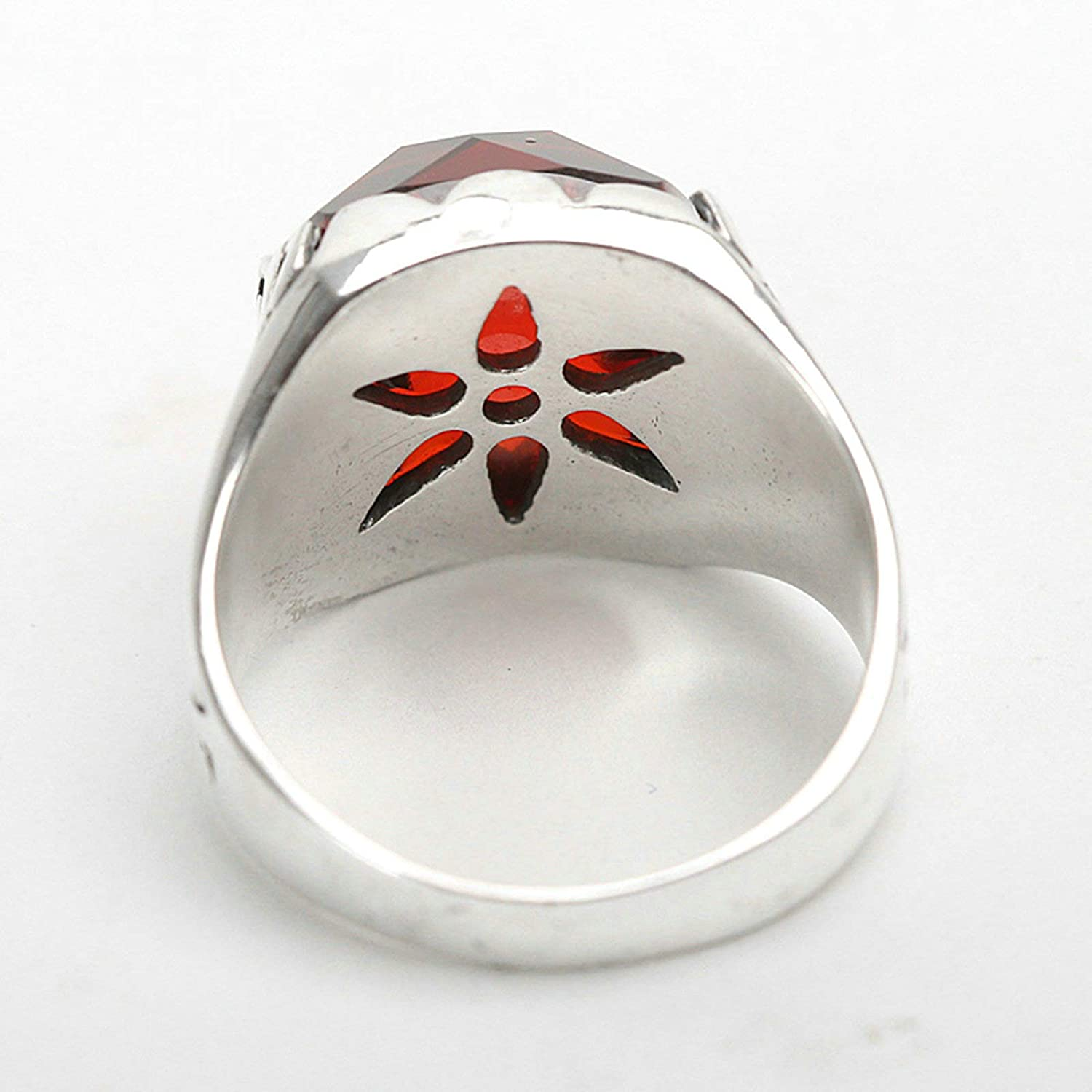 Aeici 925 Silver for Men and Women Band for Men and Women Vintage Biker Red Rectangle Rhinestone Signet Ring