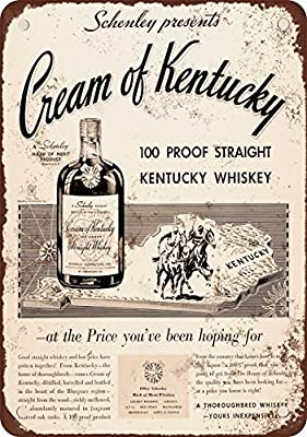 1934 Cream of Kentucky Straight Whiskey Vintage Look Reproduction Metal Tin Sign 12X18 Inches