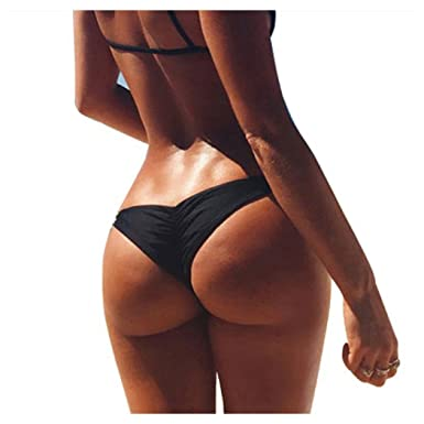 39996ac4d73 Imixcity Women Girl s Brazilian Cheeky Bikini Bottom Ruched Back Mini Itsy Swimwear  Bathing Thong (UK