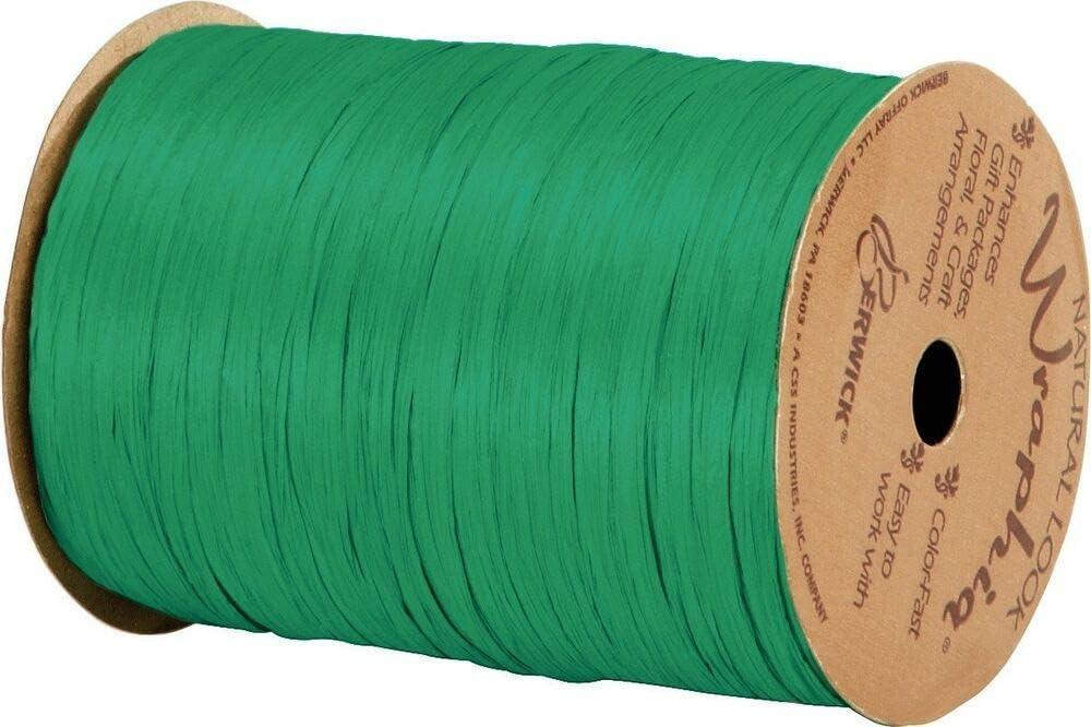 74900-96 Matte Kelly Green Wraphia Ribbon 1//4 x 100 Yards