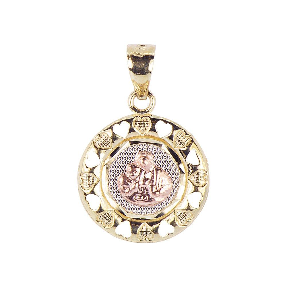 Communion Confirmation Medal Pendant Religious Charm Round 14k Tricolor Gold