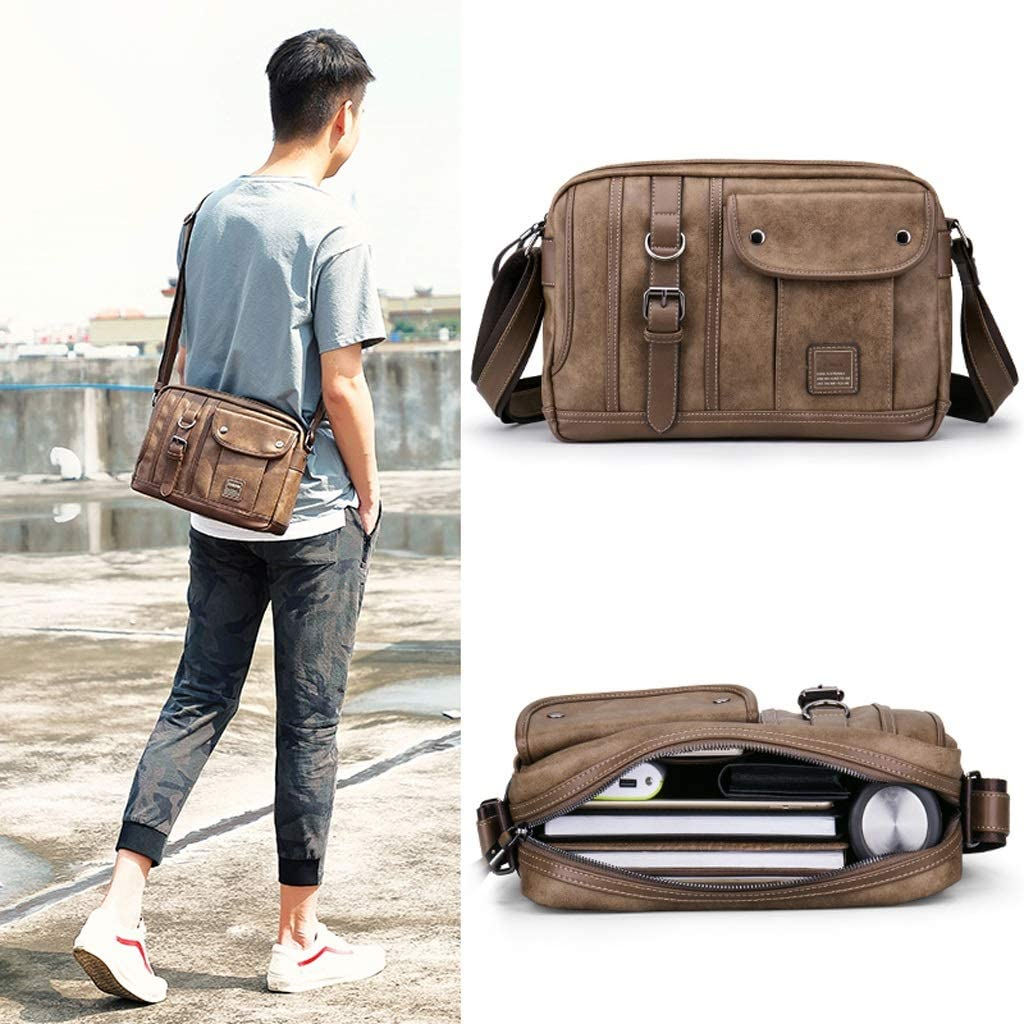 Color : B, Size : 23cm10cm35cm Kmgjc Mens Bag Shoulder Bag Mens Messenger Bag Trend Leisure Bag Retro Youth Back Bag