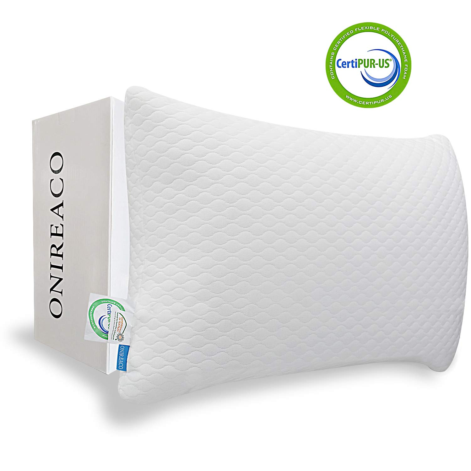 ONIREACO Shredded Bamboo Memory Foam Bed Pillows for Sleeping-Cooling Pillow Adjustable Height for Any Sleep Positions-Comfortable Breathable Hypoallergenic Washable Cover with Zipper(Queen Size)