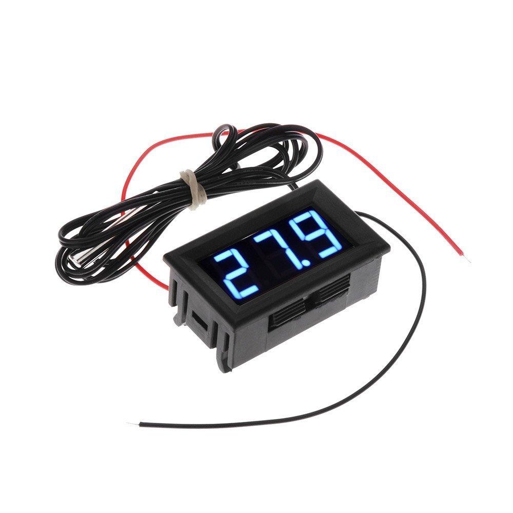 Termometro - SODIAL(R) DC 5-12V -50-110 Celsius Indicador de temperatura digital Termometro Detector de temperatura del refrigerador con la sonda, Azul