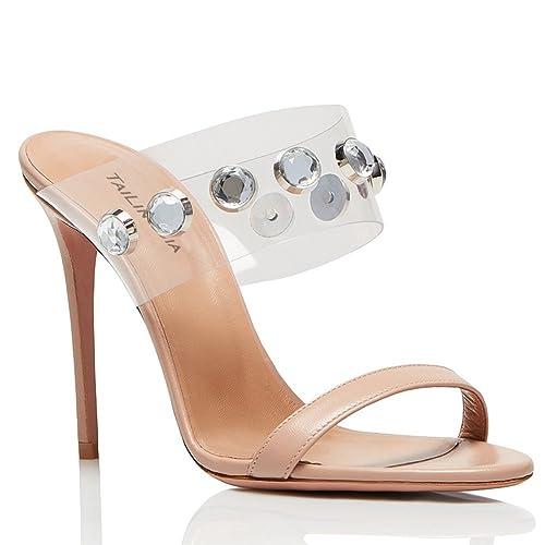 Elobaby Tacón Alto de Mujer Vestido Corte Bombas Zapatos Tarde Rhinestones Plataforma Tobillo Correa Moda Tamaño