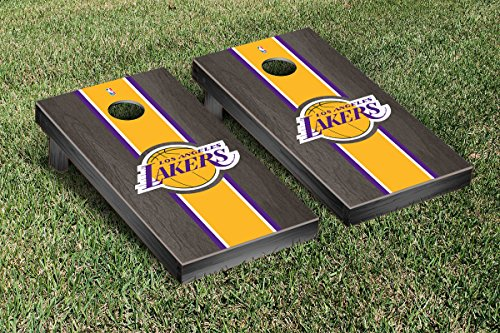 Los Angeles LA Lakers NBA Basketball Cornhole Game Set Onyx Stained Stripe Version by Victory Tailgate