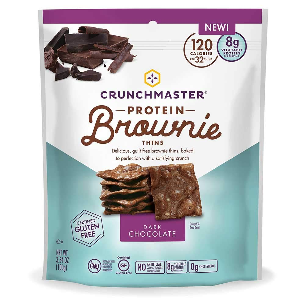 Crunchmaster Dark Chocolate Protein Brownie Thins, 3.54 Ounce -- 12 per case.