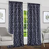 Achim Home Furnishings Chloe Rod Pocket Window Curtain Panel, 50″ x 63″, Navy