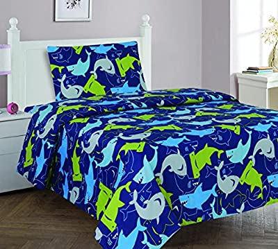 Elegant Home Sharks Design Multicolor Dark Blue Green 4 Piece Printed Full Size Sheet Set with Pillowcase Flat Fitted Sheet for Boys / Kids/ Teens # Shark