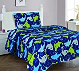 Elegant Home Sharks Design Multicolor Dark Blue Green 3 Piece Printed Twin Size Sheet Set with Pillowcase Flat Fitted Sheet for Boys / Kids/ Teens # Shark (Twin)