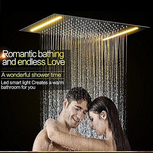 Gowe 360500mm Stainless Steel Chrome Ceiling Rain Big Shower Head And Massage Spray Jets Bathroom Rainfall Shower Set 5
