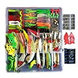 Topconcpt 275pcs Freshwater Fishing Lures Kit Fishing Tackle Box with Tackle Included Frog Lures Fishing Spoons Saltwater Pencil Bait Grasshopper Lures for Bass Trout Bass Salmon