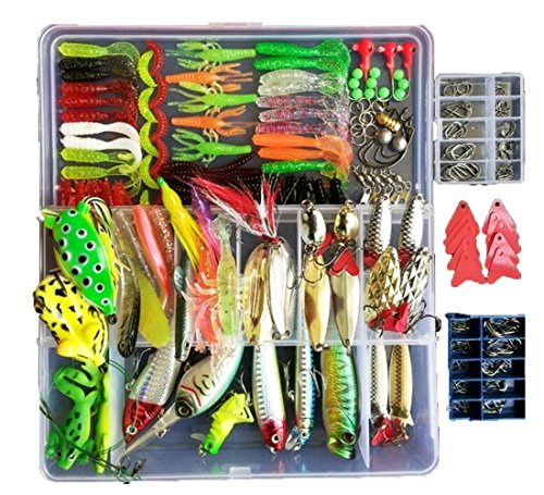 Topconcpt 275pcs Freshwater Fishing Lures Kit Fishing Tackle Box with Tackle included Frog Lures Fishing Spoons Saltwater Pencil Bait Grasshopper Lures for Bass Trout Bass Salmon ()