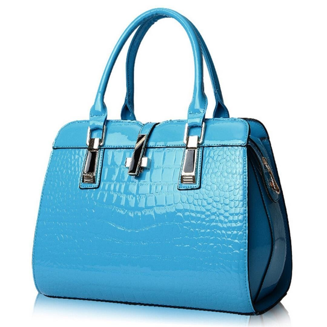 Women's Tote Top Handle Handbags Crocodile Pattern Leather Cross-body Purse Shoulder Bags (Sky Blue)