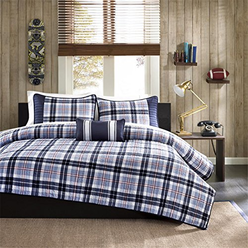Mi-Zone Elliot Twin/Twin XL Size Teen Boys Quilt Bedding Set - Navy, Plaid - 3 Piece Boys Bedding Quilt Coverlets - Peach Skin Fabric Bed Quilts Quilted Coverlet